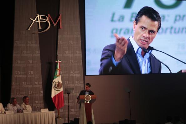 El presidente mexicano Enrique Peña Nieto en la clausura de la 78° Convención Bancaria en Acapulco. (PARDO/AFP/Getty Images)