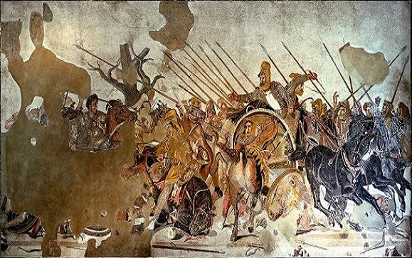 Mosaico en el Museo Arqueológico Nacional de Nápoles que representa a Alejandro en la batalla de Issos. Alejandro, unido por la fuerza a Grecia, conquistó el imperio persa y el de Egipto, conquistando y estableciendo las colonias macedonias en Irán y derrocando el norte de India, por nombrar algunas de sus victorias. (Dominio público/Wikimedia Commons)