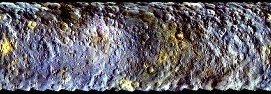 Colores del asteroide Ceres observados desde la nave espacial Dawn, mediante filtros de color. (NASA / JPL-Caltech / UCLA / MPS / DLR / IDA)