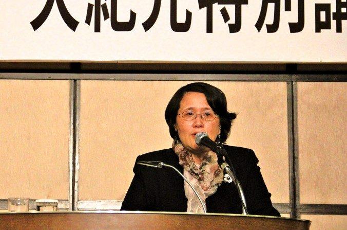 Guo Jun, la presidenta del Epoch Times en Hong Kong, dio una conferencia en Tokyo, Japón, en Febrero. (Epoch Times)