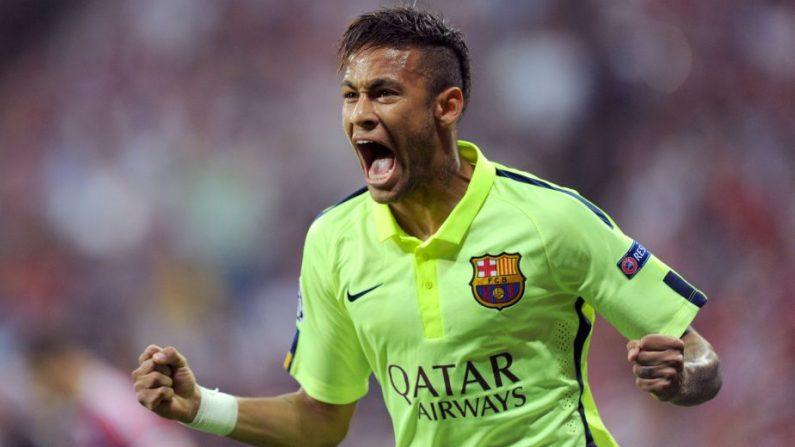 Neymar Jr. festeja su gol frente al Bayern Munich de Guardiola, 12 de mayo de 2015. (AFP)