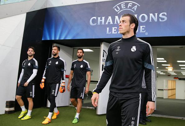 TURÍN , ITALIA - 04 de mayo : Los jugadores del Real Madrid asisten a una sesión de entrenamiento en el Estadio Juventus de Turín, en la víspera de la semifinal de la Liga de Campeones de la UEFA contra Juventus el 5 de mayo de 2015. (Helios de la Rubia/Real Madrid a través de Getty Images)