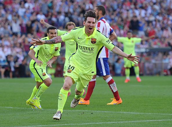 Lionel Messi, del Barcelona FC, grita el gol del triunfo. (Denis Doyle/Getty Images)