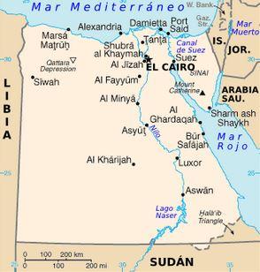 Mapa de Egipto. Ruta del posible gran éxoco africano hace 50 mila 100 mil años atrás. (Wikimedia Commons)