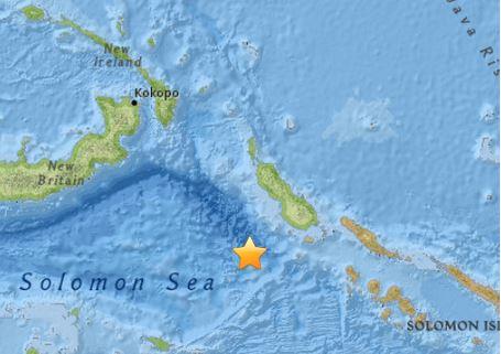 Epicentro del terremoto de 7,2 grados en la escala de Richter, en el mar Salomon duerte a las costas de las islas de Papua Nueva Guinea el 7/5/2015 ( USGS)