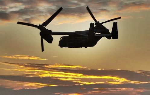 Helicóptero Osprey MV-22. Foto: SAUL LOEB/AFP/Getty Images)