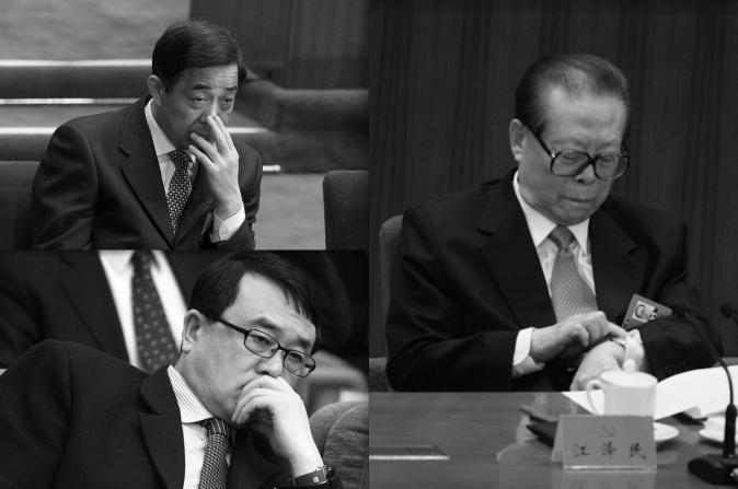 (En dirección de las manecillas del reloj, desde arriba a la izquierda), Bo Xilai, Jiang Zemin, Wang Lijun. (Feng Li / Getty Images)