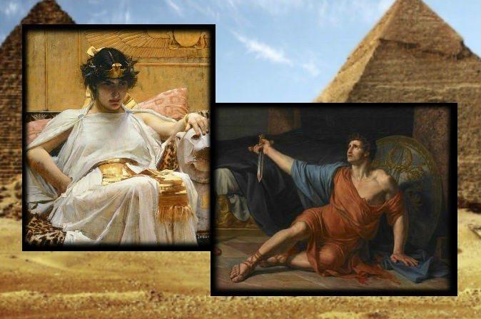 """Izquierda: Una pintura de Cleopatra por John William Waterhouse, 1888. Derecha: """"La muerte de Antonio"""", por Jean Germain Drouais, siglo XVIII. (Wikimedia Commons) Historiales: Una foto de archivo de pirámides en Egipto. (Redhouane/iStock)"""