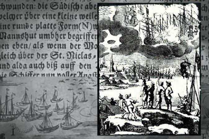 """A la derecha: Un grabado de 1680 acompaña a una descripción de Erasmo Francisci, en una batalla entre naves en el cielo, dijo haber tenido lugar en 1665. Antecedentes: Texto e imagen de """"Una descripción ilustrada de las milagrosas guerras Stralsund en el aire y batallas de barcos"""", 1665. A lo largo de la Fata Morgana Santa Cruz, Calif. Litoral visto desde Moss Landing, el 7 de mayo de 2007. (Brocken Inaglory/Wikimedia Commons)"""