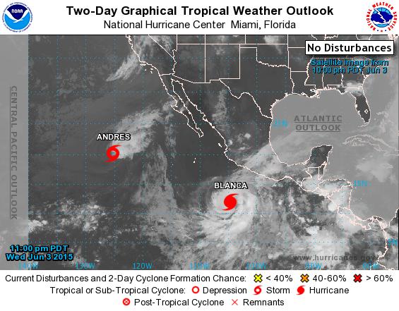 Huracán Blnca frente a las costas de México y al Oeste, la tormenta tropical Andrés. ( NOAA)