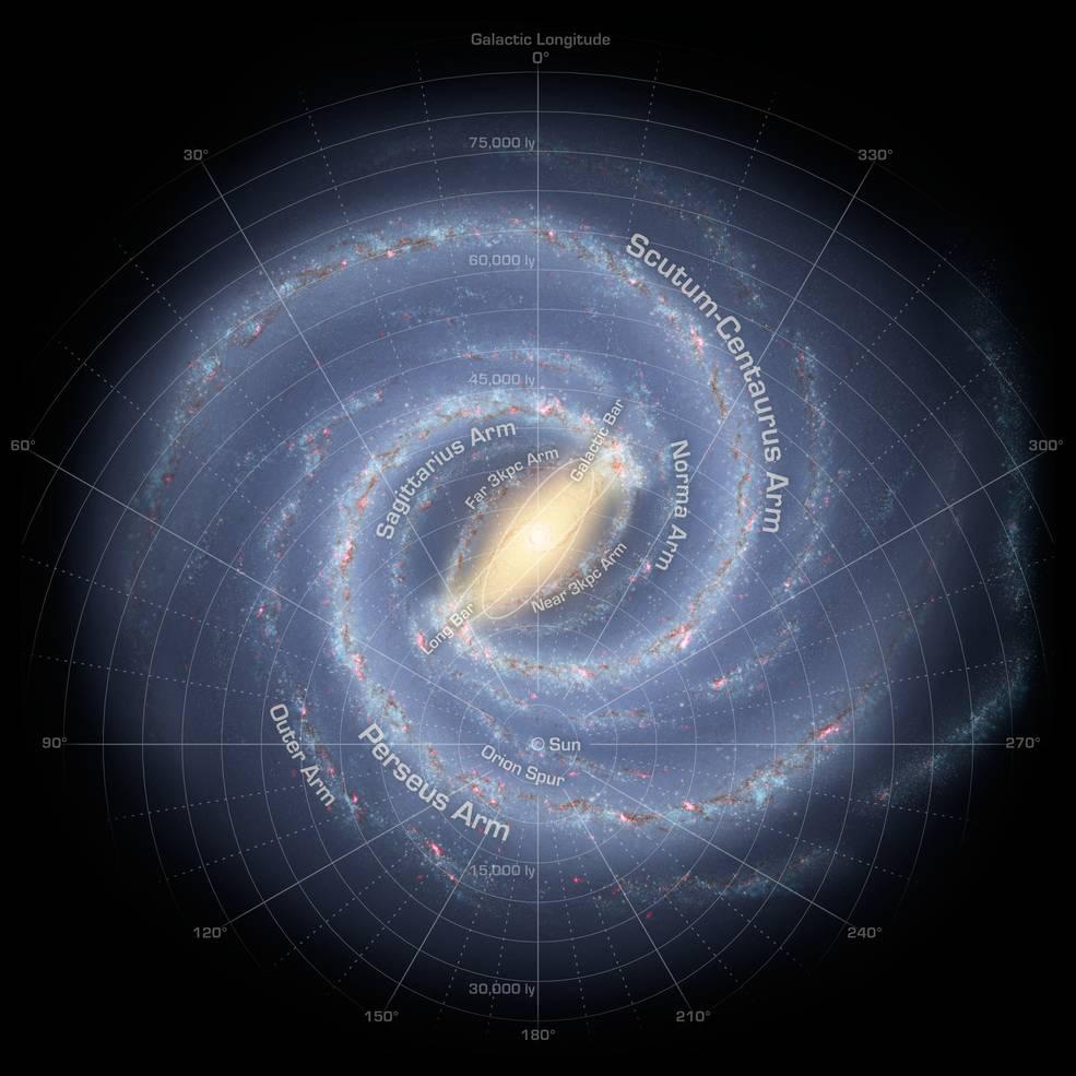 Proyectan como luce la Vía Láctea y sus cuatro brazos