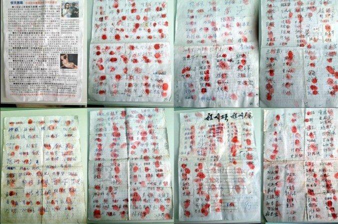 Algunas de las firmas contra sustracción de órganos de la petición que circula en China. (minghui.org)