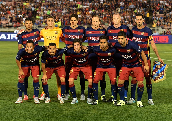 El FCB posa en California, 21 de julio de 2015. (read MARK RALSTON/AFP/Getty Images)