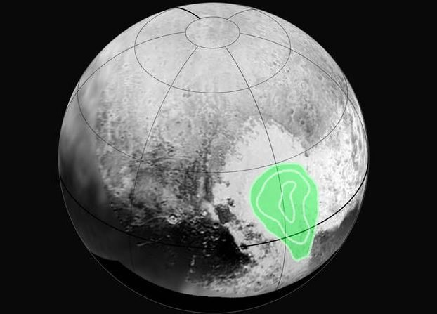 """Zona más helada en la región conocida como el """"Corazón"""" de Plutón. (NASA / JHUAPL / SWRI)"""