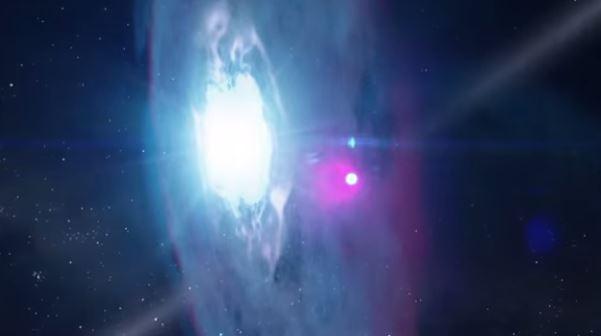 Una estrella del tipo pulsar .J2032+4127. pasará a través del gas que rodea a una de las estrellas más brillantes de nuestra galaxia, la MT91 213 en la Constelación Cisne, en 2018. (NASA)