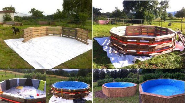 Fabrica tu propia piscina con 10 palets ecolog a la - Como se hace una piscina ...