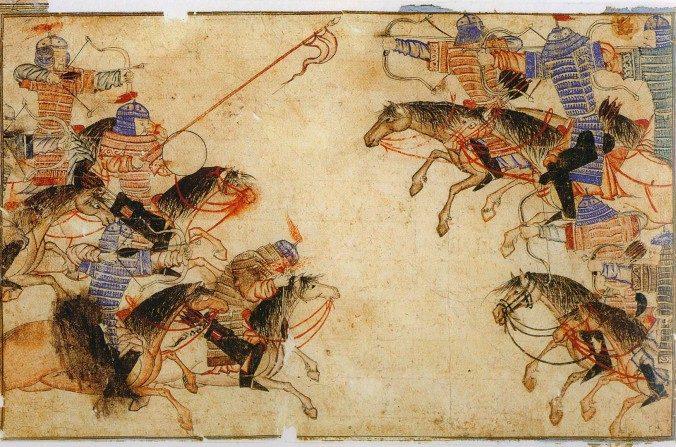 Combate mongol cuerpo a cuerpo en el siglo XIII. (Domino público).