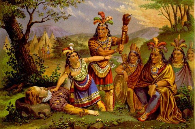 Representación artística de Pocahontas salvando la vida del Cap. John Smith. (Biblioteca del Congreso via Wikimedia Commons)