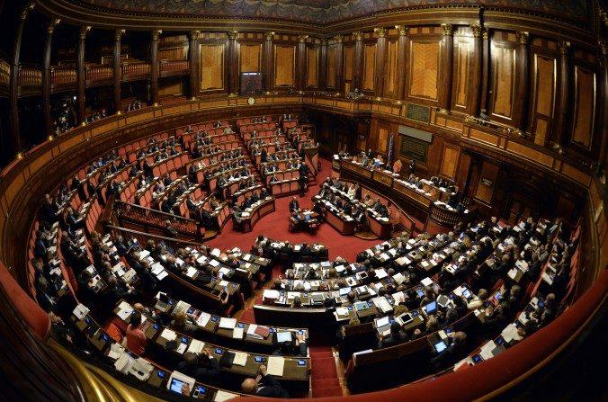 Vista general de la Cámara alta del Parlamento italiano el 22 de abril de 2015. (Andreas Solaro/AFP/Getty Images)