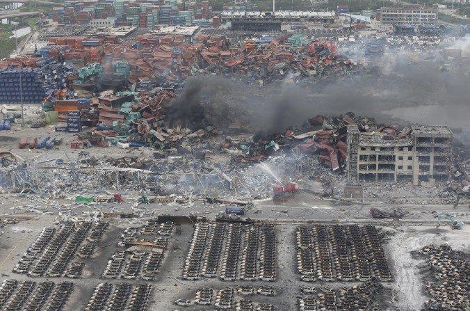 El sitio de las explosiones en Tianjin, China.  (STR/AFP/Getty Images)