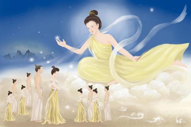 Nü Wa: la diosa creadora de la raza amarilla. (Ilustrado por SM Yang/La Gran Época)