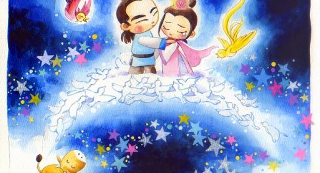 En la noche del séptimo día del séptimo mes, Niulang y Zhinu pueden atravesar la Vía Láctea por un puente formado por urracas para la reunión anual de la pareja. (Annie Wu, La Gran Época)