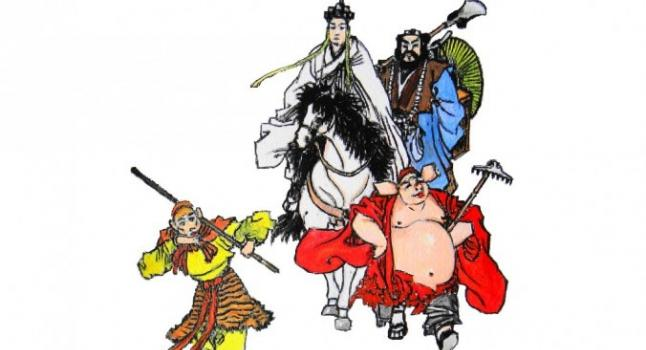 """En """"Viaje al Oeste"""", el personaje de ficción Monje Tang. (Xuan Zang) se dirige a la India para traer las escrituras sagradas de regreso a China. Está acompañado por sus tres discípulos Sun Wukong (el Rey Mono), Zhu Bajie (Pigsy), y Sha Wujing (Sandy). (Kiyoka Chu / La Gran Época)"""