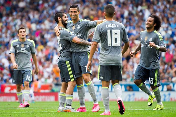 Cristiano Ronaldo festeja el sexto gol contra el RCD Espanyol en la tercera jornada de la Liga. (Alex Caparros/Getty Images)