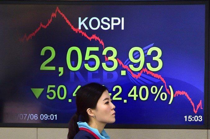 Un comerciante de divisas pasa junto a una pantalla que muestra el índice de acciones de referencia de Corea del Sur en una sala de operaciones en el Banco Korea Exchange en Seúl el 6 de julio de 2015. (Jung Yeon-Je / AFP / Getty Images)