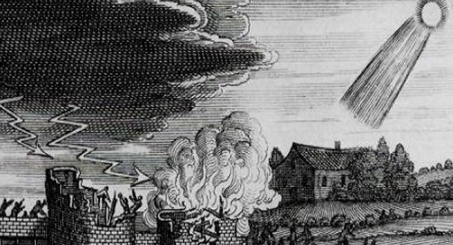 Dibujo representa los eventos tormentosos relacionados al paso de un cometa del siglo IV. ( Stanilaus Lubienietski Theatrum Cometicum (Amsterdam, 1668 a través de la NASA)