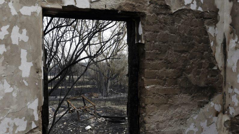 Un edificio quemado se observa después de un incendio forestal reciente el 1 de mayo de 2015, de Lubianka, un pueblo de la zona de Chernobyl. Los bomberos casi extinguido un incendio forestal cerca de la planta de Chernobyl, que se quedó a unos 20 kilómetros (12 millas) de Chernóbil después de romper a cabo el 28 de abril de 2015, pero las autoridades dijeron que no representaba peligro para los niveles de plantas y de radiación en la zona se mantuvo sin cambios. AFP PHOTO / Anatolii STEPANOV (Photo credit should read Anatolii STEPANOV / AFP / Getty Images)
