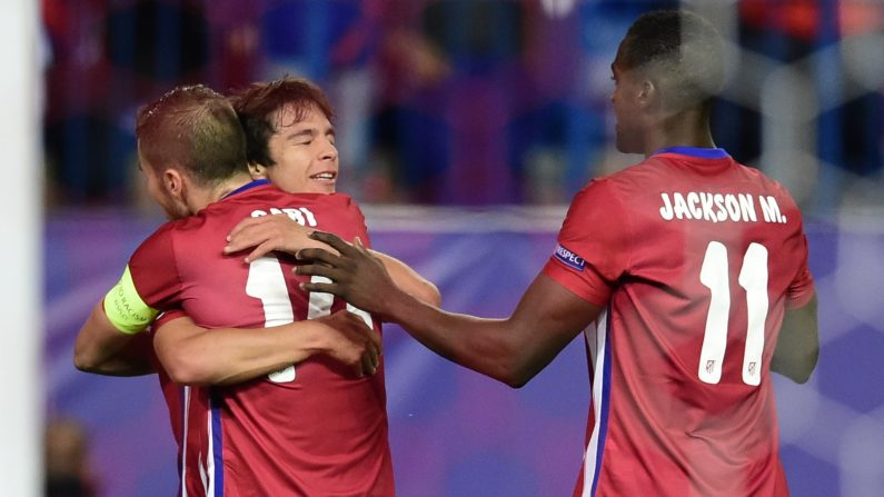 Festejo del Atlético Madrid ante el Astana por el Grupo C de la UEFA Champions League. (JAVIER SORIANO/AFP/Getty Images)
