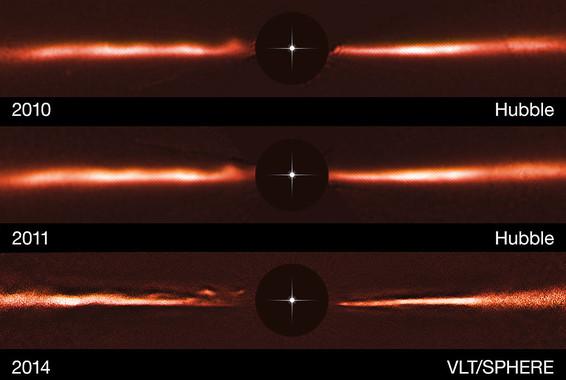 Imágenes del disco de AU Mic obtenidas en 2010 y 2011 por Hubble, y en 2014 por VLT/SPHERE (donde se observan ondas o arcos a la izquierda), bloqueando con círculos negros la brillante luz de la estrella central. / ESO, NASA & ESA