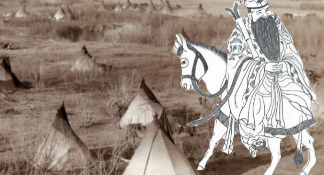 Derecha: Una pintura de Zhang Guo Lao, cabalgando de espaldas en su burro. (Yeuan colmillo/La Gran Época) Informes: Un campamento Lakota, C. 1891. (John C. Grabill a través de Shutterstock*)