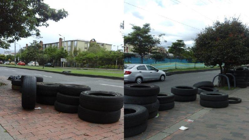 Alrededor de 15.000 neumáticos se encontraban abandonados en el edificio de la Unidad Administrativa Especial de Servicios Públicos (UAESP) de Bogotá, entidad encargada de su correcta disposición, Bogotá, Colombia. (Lucía Fernández/La Gran Época)