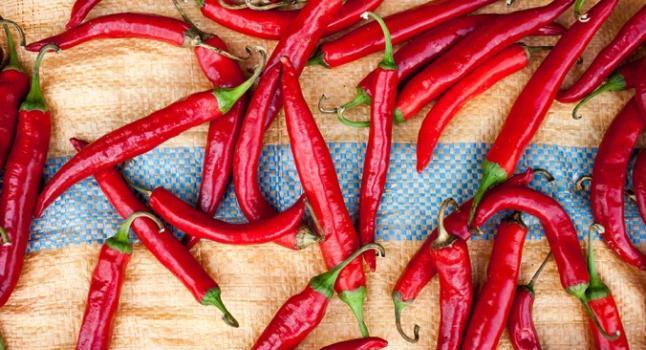 Chilis secándose al sol en Mokpo. (Jarrod Hall/ La Gran Época)