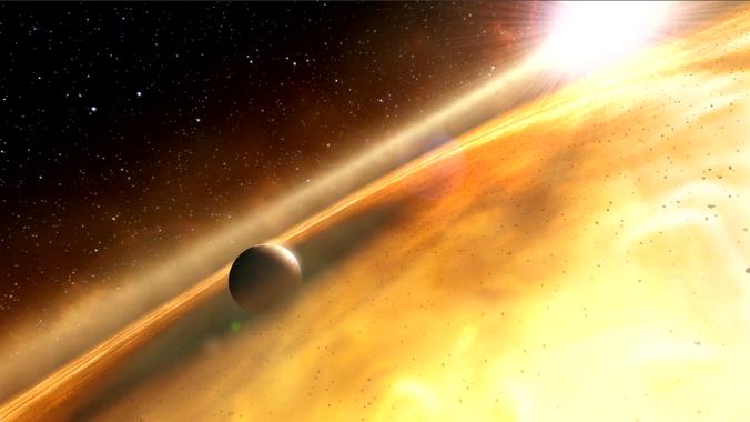 Ilustración de un exoplaneta orbitando su estrella, aunque en el caso de KIC 8462852 se desconoce que oculta su brillo de vez en cuando. / NASA