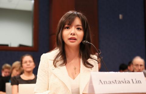 Anastasia Lin testifica ante el Congreso de EE. UU. sobre persecución religiosa en China, 23 de julio de 2015