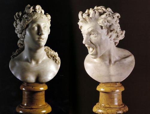 Esculturas Anima Beata (izquierda) y Anima Dannata de Bernini. / Wikipedia