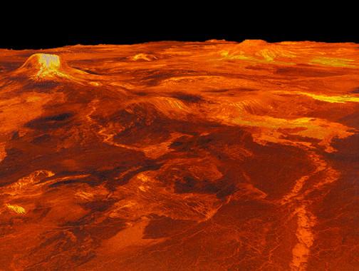 Recreación en 3D de la región venusiana Western Eistla, a partir de imágenes obtenidas por la sonda Magallanes / JPL-NASA.