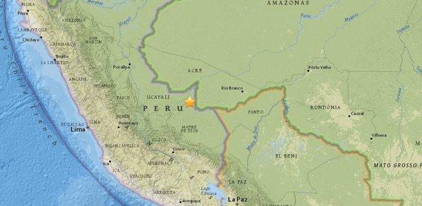 Un sismo de 7,5 grados sacudió el martes la zona centro sur del Perú, con epicentro en la Amazonia, fronteriza con Brasil, causando alarma en sectores de la población sin reportes inmediatos de daños por parte de las autoridades. (USGS)
