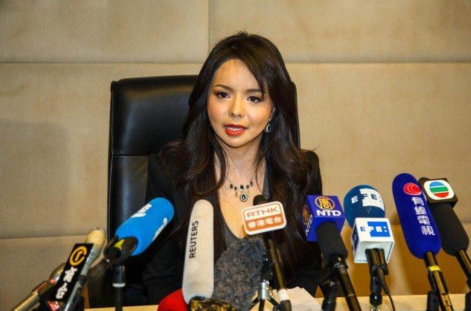 Miss Mundo Canadá en conferencia de prensa en Hong Kong, 27 de noviembre de 2015.  (Pun Choi Shu/La Gran Época)
