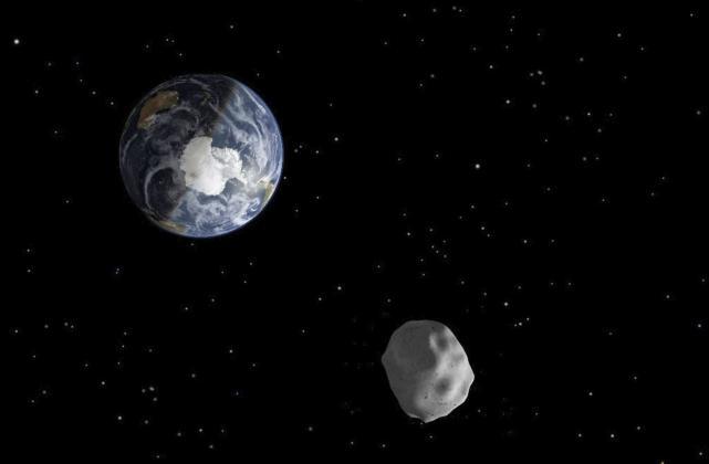 Imagen de una recreación distribuida por la NASA de un asteroide que pasa cerca de la Tierra.