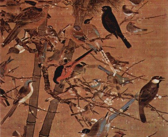 """PIE DE FOTO:  Una pintura de la Dinastía Ming que representa a los """"Tres Amigos de Invierno"""" -pino, bambú y flor del ciruelo- titulado """"Tres Amigos y 100 pájaros"""", del artista Bian Wenjin, también conocido como Bian Jingzhao. (Wikimedia Commons)"""