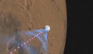 En una de las perspectivas diseñadas por ingenieros de la NASA en el momento en que se pose en el planeta Marte/Foto: Nasa