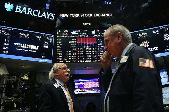 Bolsa de Nueva York (NYSE) al final de la jornada de Nueva York. (Foto de Spencer Platt/Getty Images)