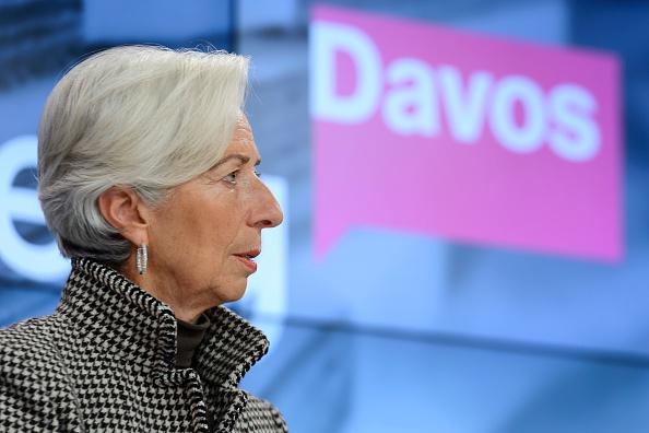 La directora gerente del Fondo Monetario Internacional Christine LaGarde en una sesión del Foro Económico Mundial en Davos, 21 de enero de 2016. (FABRICE COFFRINI/AFP/Getty Images)