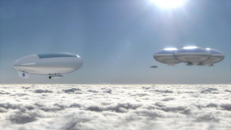 Ciudades sobre las nubes para explorar a Venus.  (Laboratorio de conceptos avanzados de NASA Langley Research Center)