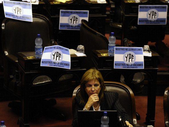 La ministra argentina de Seguridad, Patricia Bullrich (crédito de foto debe leer ALEJANDRO PAGNI/AFP/GettyImages)