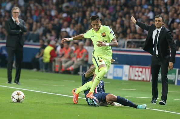Neymar y el entrenador a Luis Enrique del FC Barcelona. (Foto por Xavier Laine/Getty Images)